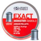 Кулі пневм JSB Diabolo Exact Monster, 4,52 мм , 0,870 гр. (200 шт/уп) - зображення 1